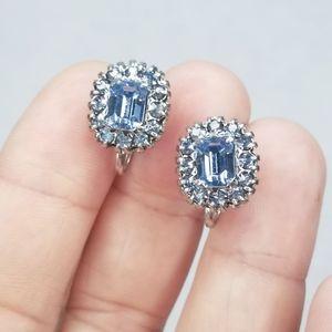 Vtg Vargas silver tone blue rhinestone screw backs
